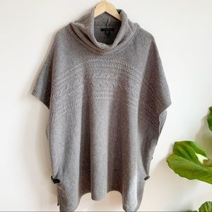 Tahari Sweater Poncho Wool Turtleneck Cable Knit